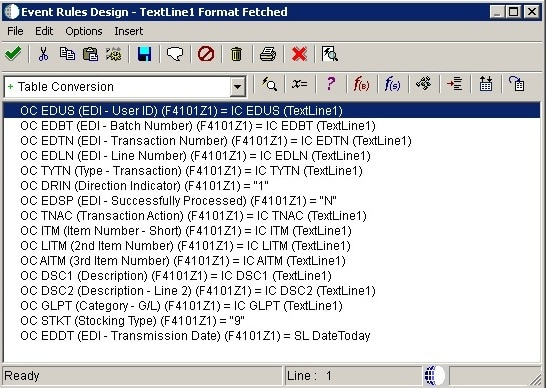 JD Edwards Table Conversion Event Rules Design Mapping