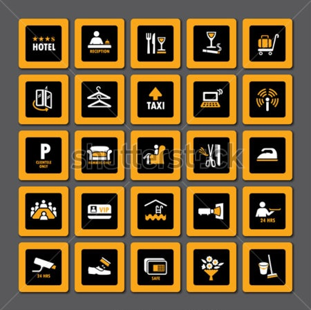 stock-vector-pictogram-set-for-hospitality-industry-in-orange-and-white-on-black-68810395