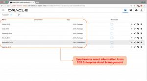 Synchronize asset information from  EBS Enterprise Asset Management