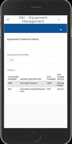 Equipment Customer History