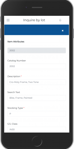 Inquire By Lot-Item Feature