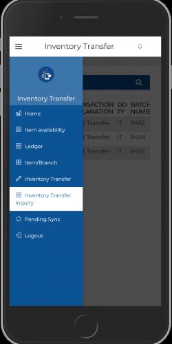 Inventory Transfer app view
