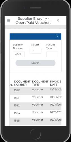 PO App-Supplier Voucher Status iPhone